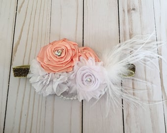 Vintage peach and white baby headband, chic flower headband, couture baby