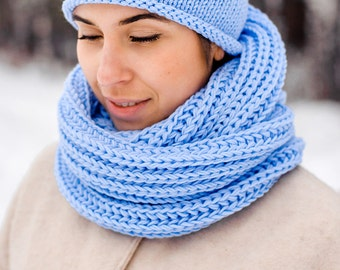 Light Blue Knit Snood | Custom colors | For Women | Knit Cowl Scarf | Hand Knit Circle Scarf | Merino wool accessories