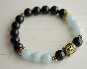 PURE bracelet - black agate & Amazonite
