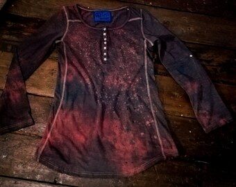 Unique violet shade fairy style hand dyed womens longsleeve size S