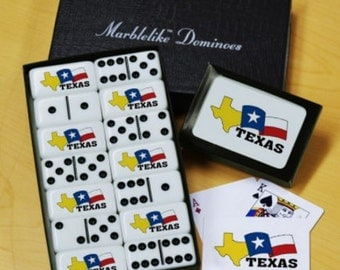 Texas State Dominoes & Playing Cards Gift Set