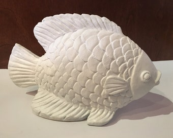 Vintage White Fish Nautical Decor, Up Cycled Fish Statue