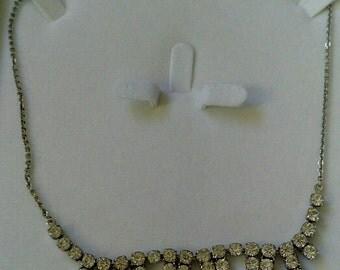 Retro 1940s Glamour Rhinestone Crystal Necklace. Beautiful.