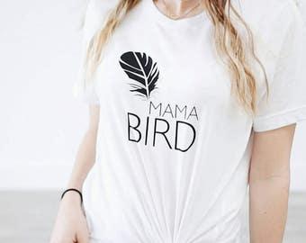 MAMA BIRD, White Boyfriend Tee