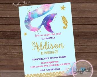 Mermaid Party Invitation, Mermaid Gold Invitation, Mermaid Invitation, Mermaid Birthday Invitation, Mermaid Party, Digital File
