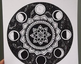 8x10 Moon Cycle Mandala