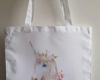 Personalised Unicorn, Mystical Unicorn, Beautiful Pastel coloured Unicorn Tote Bag 41cm x 38cm.