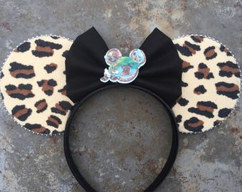 Animal Kingdom Mickey ears,  Safari Mickey Ears, animal kingdom Minnie Ears, Mouse Ears, Bow center is optional!