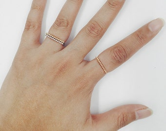 14K Solid Gold Flat Top Bead Detail Ring Gold Ring