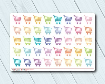 Shopping Cart Planner Stickers - Icon - Erin Condren Life Planner - Happy Planner - Grocery Shopping - Store - Matte or Glossy