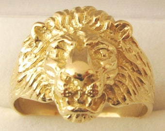 Genuine 9K 9ct Solid Gold Mens LION RING Size T/10 to W/11.5
