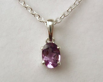 Genuine SOLID 925 STERLING SILVER February Birthstone Amethyst Pendant