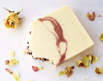 Rose Geranium Handmade Soap - Cold-Processed - Bar Soap - Palm Oil Free -All Natural - White Rose Soap