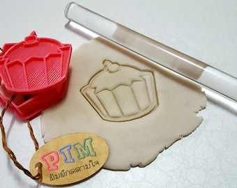 Cupcake cookie cutter with stamp