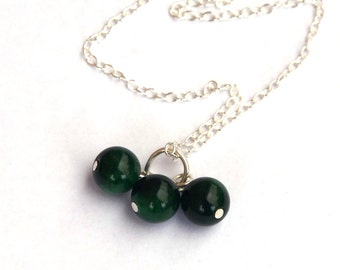 Emerald necklace - Valentine's Day - Trio of Emeralds - May Birthstone - Gemstone necklace - Sterling silver chain and components
