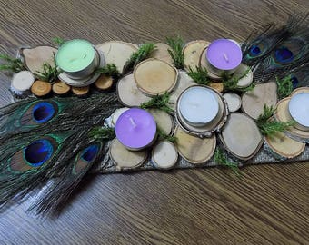 Feather Arrangement, Wooden Candle Holder, Wood Slice Centerpiece, Peacock  Feather, Rustic Wedding