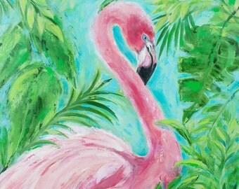 Lily Flamingo: Fine art giclee print of flamingo from original acrylic painting