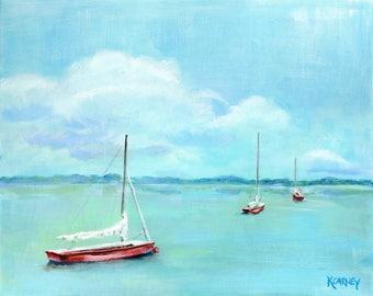 Safe Harbor : Fine art giclee sailboat print from original sailboat acrylic painting