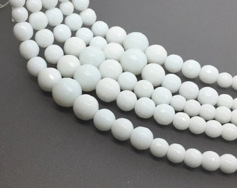 "16""Full Strand 6-14mm White Jade Graduated Faceted Round Beads, Wholesale Graduated Necklace"