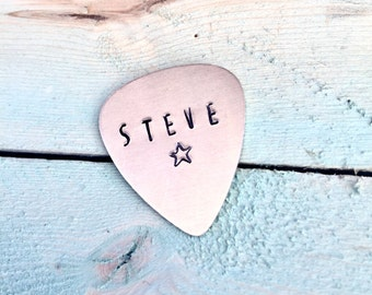 Personalized Guitar Pick Metal Guitar Pick Name on Guitar Pick Hand Stamoed Guitar Pick Gift