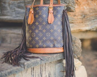 SALE!!!   LOUIS VUITTON Fringe Bucket bag small ... ready to ship!!!  Boho purse, hippie, gypsy, western, cowgirl, gift for her, fashion