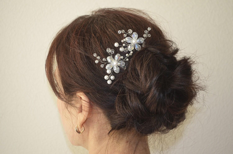 Bridal Hair With Pins : Flower hair wedding hairpins bridal pearl