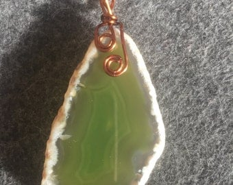Dyed green agate slab pendant