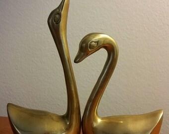 Pair of Beautiful Brass Midcentury Swans