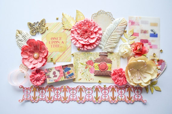 Once Upon a Time Scrapbook Kit by Carrie Williams Dear Zae: Done in Pink and cream in a storybook theme with handmade flowers, chipboard, with Blue Fern Studios roses and 3D embellishments. Available on Etsy at dearzae.etsy.com