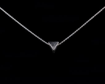 triangle necklace, tiny silver triangle necklace, dainty silver necklace, dainty necklace, triangle pendant necklace, silver necklace, gift
