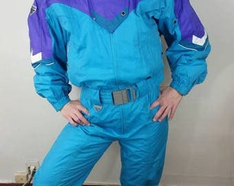 Aqua Colorblock Vintage Ski Suit • Womens Size 10 • 1980s Spyder Ski Suit • 80s Belted One Piece Snow Suit • Snow Pants Sportswear