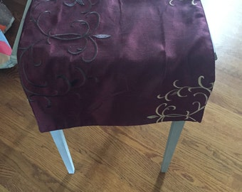 Vintage burgundy red with brown and gold embroidery table runner, home decor, dining and kitchen