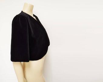Velvet Jacket / Bolero, UK10-12, Eveningwear, Vintage Clothing, Boho, Black Velvet Bolero, Hippie, Clothing, Vintage Ladies Clothes, Wedding