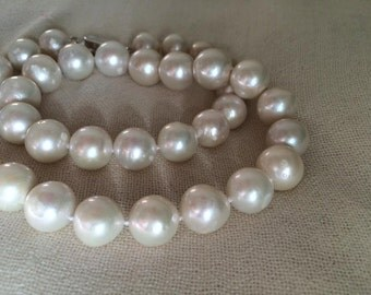 Genuine 12-13mm white freshwater pearl necklace 45cm/18""
