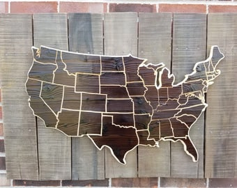 US Wood Map | USA Travel Map | United States Map | Customized | Rustic