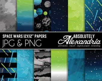 Space Wars Digital Papers - Personal & Commercial Use - Star, Planet Graphics, Patterns, Boys Scrapbook Page Kit