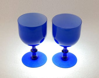 Two Empoli 10 Oz. Hand Blown Cased Blue Glass Water Goblets, Attributed to Carlo Moretti, Mid Century Hand Blown Italian Cobalt Wine Glass