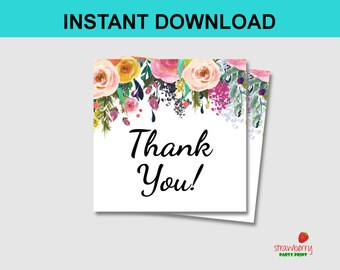 Floral Thank You Tags Stickers, Party Favors, Shabby Chic Gift Tags, Printable Tags, Stickers, Labels, INSTANT DOWNLOAD C17 B14 A15
