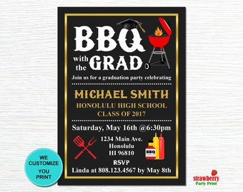 Backyard BBQ Invitation, Graduation BBQ, Barbeque Party Cookout Invitation, Summer Cookout, Printable Invitation, G11