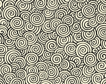 "28"" REMNANT - Happy Home by Christine Graf for Quilting Treasures, Pattern 23686-EJ Cream & Black Swirls, Geometric Packed Swirls"