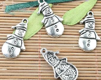 8 Snowman Charms Antique Silver Holiday Charms Charm Bracelet Bangle Bracelet Pendants #466