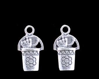 6 Gardening Pail W/ Tools Charms Antique Silver Bucket Charms Charm Bracelet Bangle Bracelet Pendants #417