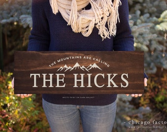 The Mountains Are Calling Custom Wooden Sign, Wooden Family Name Sign, Wedding Gift, Engagement Gift, Christmas Gift (GP1024)