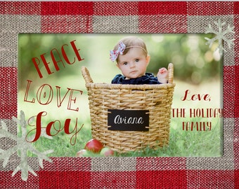 Red and Tan Peace, Love, Joy Christmas Holiday Photo Card