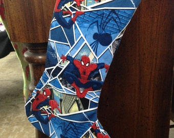 Spider-Man Christmas Stocking, Comic Stocking, Cartoon,  Marvel Stocking,Heirloom Stocking, Stocking Stuffer, Super Hero, Peter Parker
