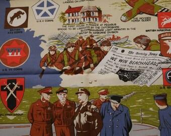 Vintage Tea towel, Retro Kitchenalia, Cotton Teatowel, Vintage Teatowel, World War Two, Kitchen Decor, Operation Overlord, D Day, Churchill
