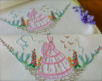 Hand Embroidered Vintage Crinoline Lady x 2 Linen Chair Backs