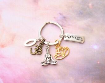 Yoga keyring namaste keyring yoga keychain yoga key chain yoga keying Hindu keyring bag charm boho lotus flower personalised gift for yoga