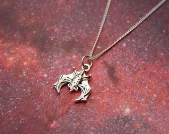 Vampire necklace bat necklace moon necklace silver plated vampire necklace horror necklace supernatural necklace gothic vampire bat moon