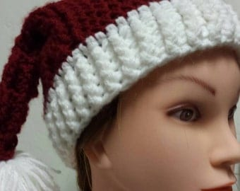 Red and white double pom pom Santa hat.